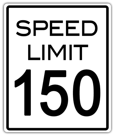 limit: Speed limit one hundred and fifty sign with clipping path
