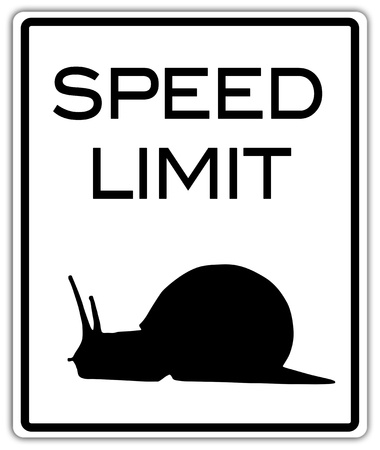 limit: Speed limit traffic sign with snail symbol, clipping path included