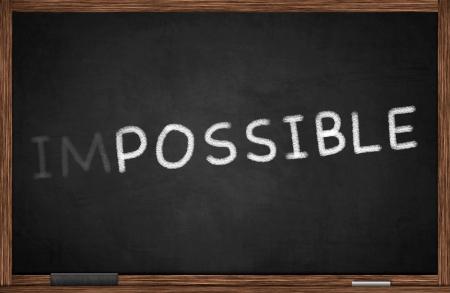 possible: Possible concept written on blackboard Stock Photo