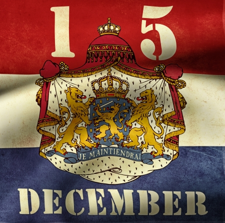 Illustration of the kingdom day of the netherlands with vintage flag of and text illustration