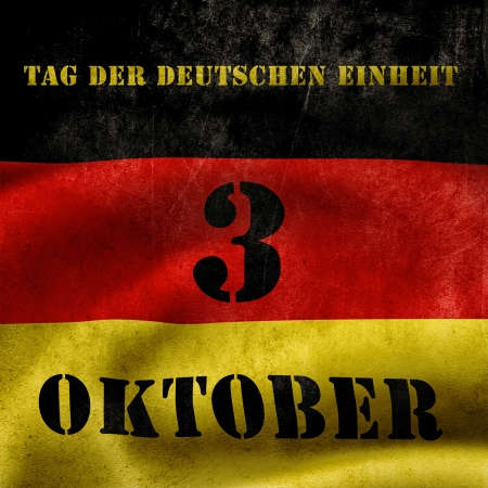 der: The day of german unity illustration with flag and text Stock Photo