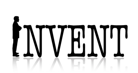 invent: Invent concept with black text and silhouette of a thinking man