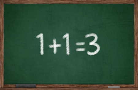 sign equals: Miscalculation concept with numbers on chalkboard
