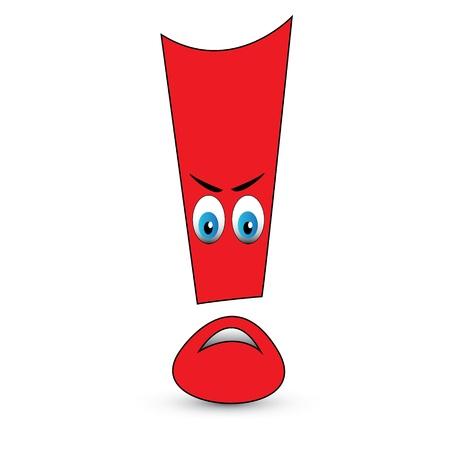 exclamation mark: Signo de exclamación rojo con cara de enojo