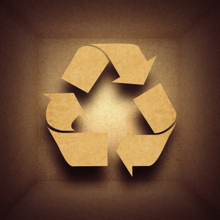 Paper recycling concept with symbol in cardboard box photo