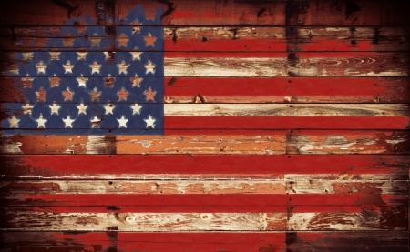 American flag painted on grunge wall photo
