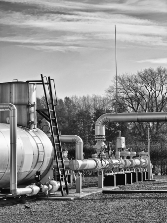 fas: Black and white image of a fas facility in natural environment