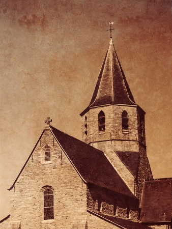 Church with sepia toning and texture photo