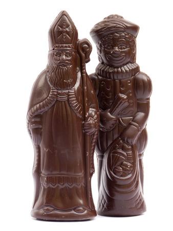 'black pete': Saint Nicholas and Black Pete chocolate isolated on white