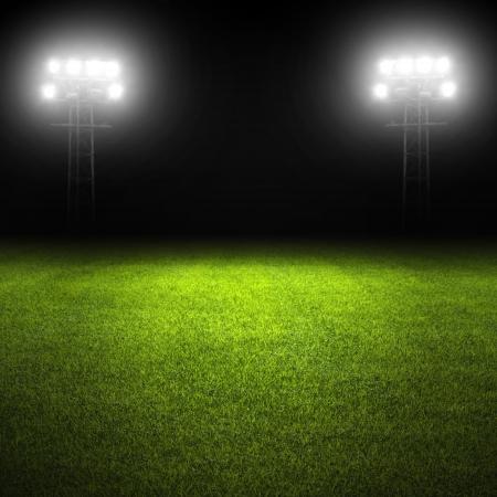 Voetbalveld sjabloon met gras en stadion lichten Stockfoto