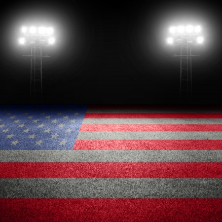 American sports concept with flag on field and stadium lights Stock Photo - 24906880