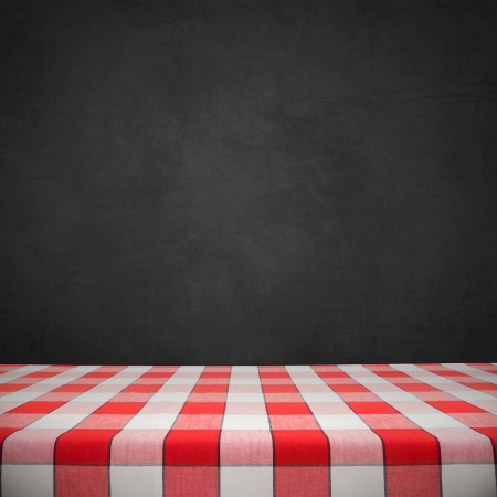 red tablecloth: Red checkered tablecloth on black chalkboard