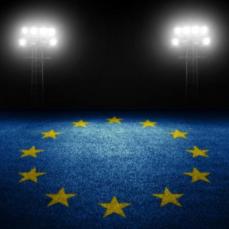 european championship: Euro sports concept with european flag on field against illuminated stadium lights