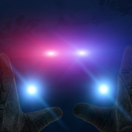 Illustration of cop car lights with hands up illustration