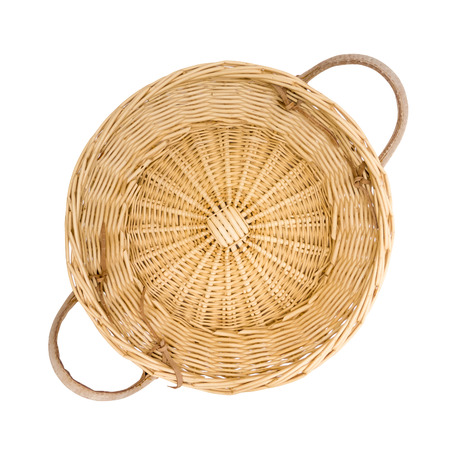 picnic basket: Wicker basket isolated on white, top view