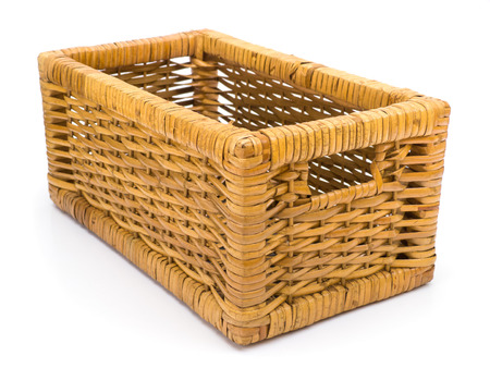 Wicker basket drawer isolated on white photo