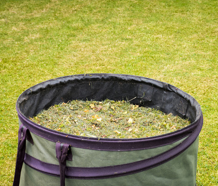 mow: Gardening bag with cut grass in garden Stock Photo