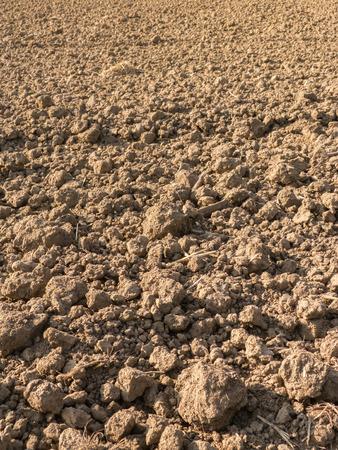 plowed field: Fresh plowed field for background Stock Photo