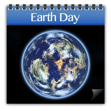 world earth day: Earth day on calendar isolated on white