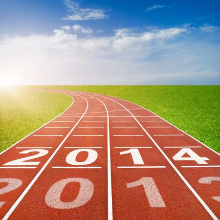 2014 written on running track photo