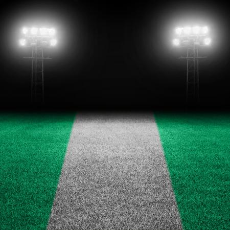 nigerian: Nigerian flag field against illuminated stadium lights Stock Photo
