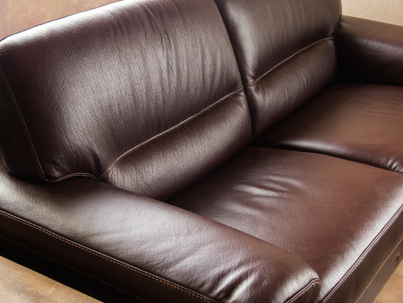 brown leather sofa: Luxurious classic brown leather couch