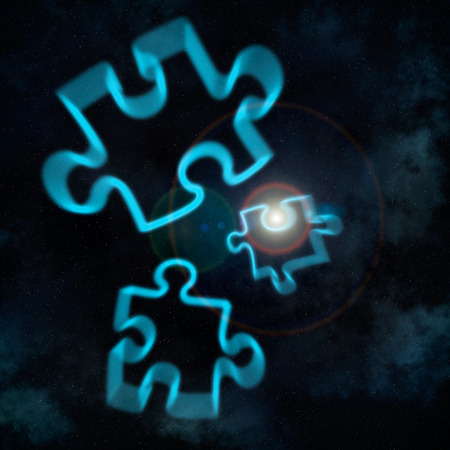 puzzling: Complex universe concept with puzzle pieces floating in space Stock Photo