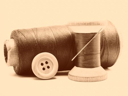 sewing kit: Vintage toned still life of sewing kit Stock Photo