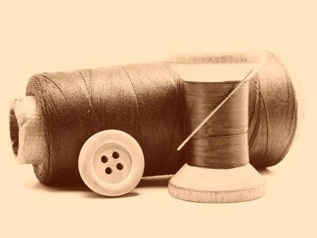 kit de costura: Vintage tonificado bodegón de kit de costura