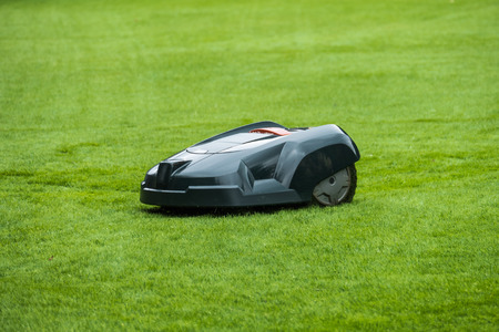 Robotic lawn mower on grass, side view