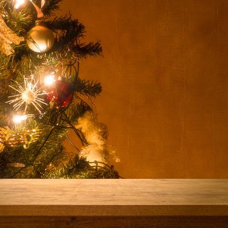 christmas lights display: Wooden table on christmas tree