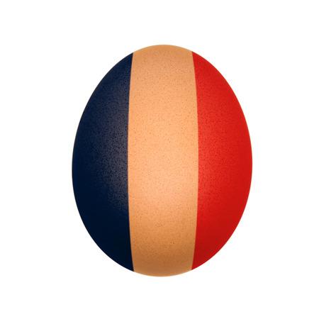 French flag painted on egg isolated on white photo
