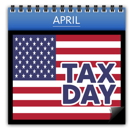 irs: American Tax day concept with flag and text on calendar isolated on white background Stock Photo