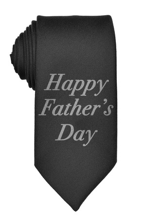 black tie: Illustration of a rolled up black tie with happy fathers day message, isolated on white background