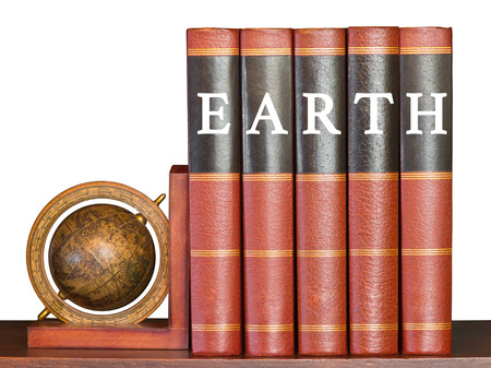 the encyclopedia: Earth concept with encyclopedia and globe on white background