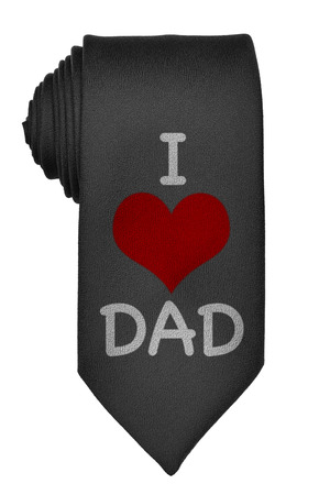 black tie: I love dad message with red heart on black tie isolated on white background