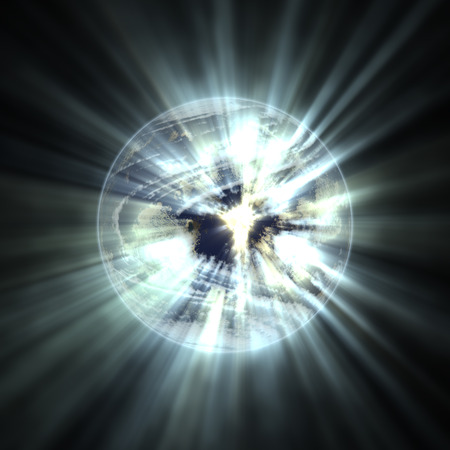 emitting: Planet earth emitting rays of light