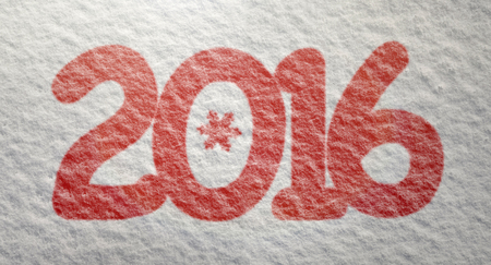 top of the year: Year 2016 written in snow, top view Stock Photo