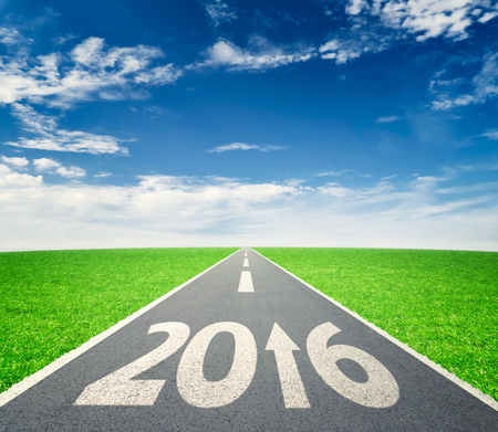 new direction: Number 2016 written on road in grass field against cloudy blue sky