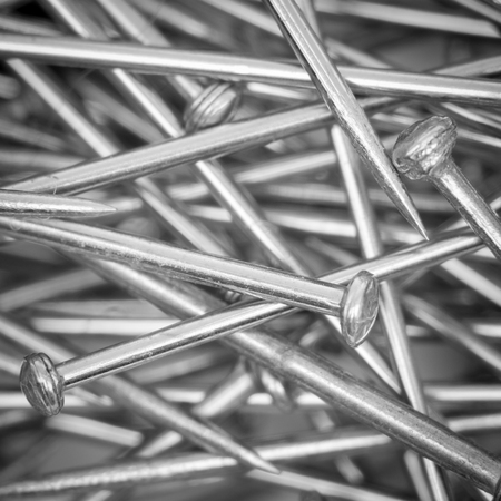 closeup view: Pile of pins closeup, top view