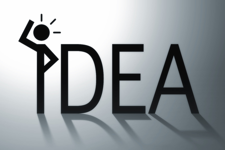 Idea concept illustration with text and person