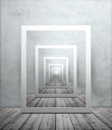 Eindeloze herhalende afbeelding van fotolijst in kamer met houten vloer en gestructureerd behang, droste-effect