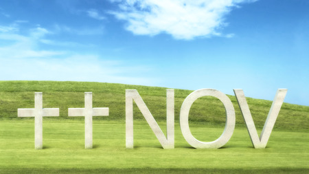 Armistice day concept with two crosses and the word nov in grass field against blue cloudy sky