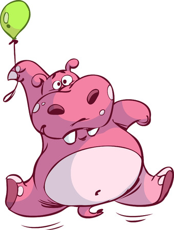 cute pink hippo floating on balloon