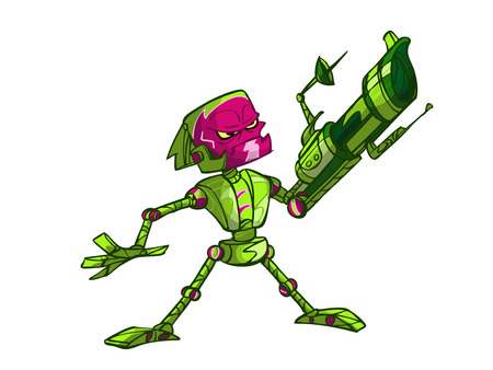 green war robot