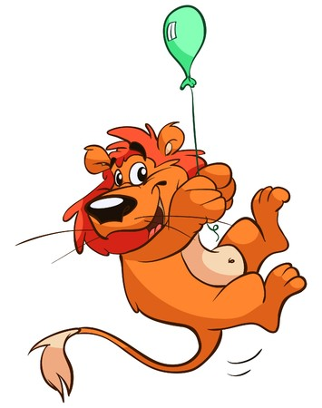 cute lion hanging on small balloon