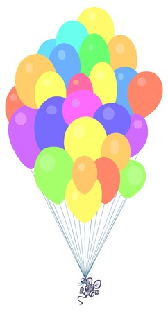 cute small mouse floating with balloons