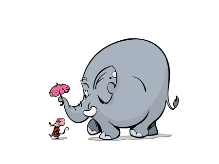 Lady Mouse and elephant walking Vector