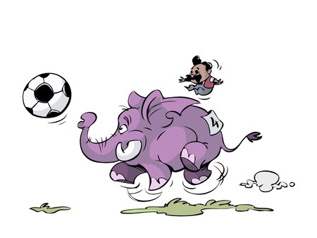 elephant is playing soccer with big ball Illustration