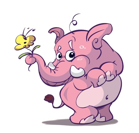 cute pink elephant with flower Illustration